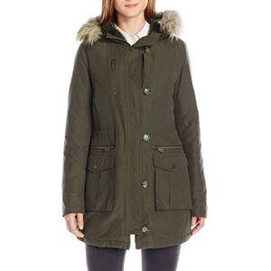 Rachel Roy Faux Fur Trim Hooded Lined Parka